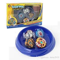 beyblade adet toptan satış-4 Adet suit 4D Beyblade Savaş Plaka ile Çocuklar için Patlama XD168-6A Gyro Oyuncak topaç Çocuklar için Disk Arena Gyro Set hediye