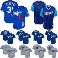 erkekler için düğmeler toptan satış-Los Angeles erkek Dodgers Formalar Mike Piazza AJ Pollock Cody Bellinger Belli Kraliyet Cooperstown Koleksiyonu Örgü Düğme-Up Beyzbol Forması