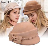 Wholesale felt pillbox hat for sale - Group buy 100 Australian Wool Felt Berets Ladies Artist Hats Women Cap Elegant Bow sStewardess hat Pillbox Hat Boina Feminino