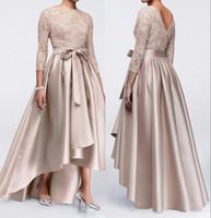anneler için damat elbiseler toptan satış-Gelin Elbise Champagne Dantel Plus Size Anne Damat Abiye BM0830 2020 Uzun Kollu Saten Yüksek Düşük Sashes Anne
