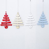 Wholesale black white tree painting for sale - Group buy Fashion PC Painted Hanging Ornamen Wooden New Xmas Tree Pendant Tree shaped Christmas Home Party Decoration Plaque t