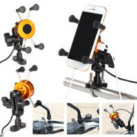 Wholesale motor phone holder online – USB Universal Chargeable Motorcycle Phone Holder Motor bike handlebar Rotating Mount Mobile Rearview Mirro Phone Stand car