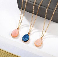 Wholesale resin stone necklace china resale online - Collier Femme Charm Drop shape Stone Necklaces Pendants for Women Crystal Bud Necklace Fashion Jewelry Kolye Collares