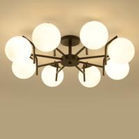luces de techo dormitorio arañas antiguas al por mayor-Modern Retro Chandelier para cocina dormitorio colgante antiguo de hierro araña luces de techo estadounidense E27 Glaas bola AC 90-260V