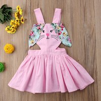 Wholesale european style baby clothes for sale - Easter Baby Girls Rabbit ears Floral Straps Skirts INS bunny Sling suspender Backless dress summer Boutique kids clothing C5966