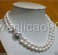 akoya perlen barock großhandel-2 Reihe 9-10MM AKOYA REAL WHITE BAROCKE PERLENKETTE