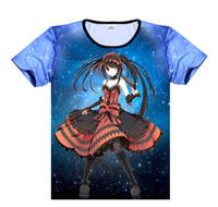ingrosso data cosplay dal vivo-T-shirt DATE A LIVE T-shirt anime Yoshino Cosplay T-shirt manica corta Tokisaki Kurumi Tees Yatogami Tohka Tops