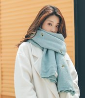 foulard coeur blanc noir achat en gros de-Automne et hiver écharpe brodée recto-verso ananas femelle réseau chaud écharpe rouge