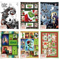 Wholesale coverlet bedding resale online - The Grinch Series square blanket Funny Christmas warm blanket thick Sherpa fleece blankets for kids warm soft children s coverlet bed sheets