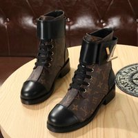 Wholesale brown lace up boots heels resale online - Wonderland Flat Ranger Boot Branded Women Patent Canvas Boots Twist Buckle Designer Lady Plain Leather Rubber Outsole Ankle Boots