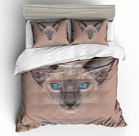 gato adulto set venda por atacado-3D Cat Impressão Bedding Set Capa de Edredão Fronhas 2019 Primavera QH32 Consolador Covers Animal Cão Único Duplo Rainha King Size