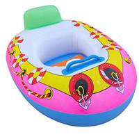 crianças, natação, anel, bote venda por atacado-PVC Inflável Crianças Bebê Assento Do Bebê Natação Anel de Natação Piscina Trainer Aid Beach Float Boat 65 * 45 cm