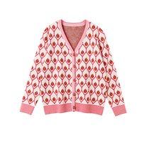 ingrosso cardigan alla moda-2009 moda autunno e inverno stile squisito pulsante maglione geometrica pulsante jacquard cardigan con scollo a V