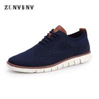 yaz düğün ayakkabıları erkekler toptan satış-ZENVBNV 2018 Yeni Yaz Hava Mesh Nefes Işık Erkekler Rahat Ayakkabılar Erkekler Iş Resmi Örgü Oyma Oxfords Gelinlik Ayakkabı