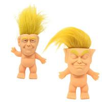 handpuppe machen großhandel-Trump Silikon Troll Puppe Kreative Simulation Handgemachte Ornamente Direkte Lustige Kreative Spielzeug Vinyl Action-figuren Lange Haare Puppen Lustige Hand