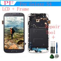 touch samsung lcd оптовых-Сменный сенсорный ЖК-экран для Samsung GALAXY S4 i9500 i9505 с рамкой планшета в сборе белый черный синий + инструмент для ремонта