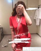 mini falda conjuntos de camisa al por mayor-2019 Blusa de manga corta de punto + Falda corta Camiseta con estampado de manga 2pcshort Y Para Mujer Moda Impresión y Faldas cortas 2 Piezas Conjuntos