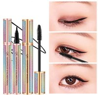 ingrosso matite spesse-QIC nero Mascara + Eyeliner pencil Makeup set 4D Kit in fibra di seta Starry Sky Extend Thick Eyelash Slim Thick Curling Cosmetici impermeabili