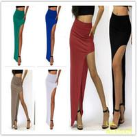 açık kenarlı uzun etek toptan satış-Moda Yeni Büyüleyici Seksi Kadınlar Lady Uzun Etekler Açık Yan Bölünmüş Etek Uzun Maxi Etek Siyah