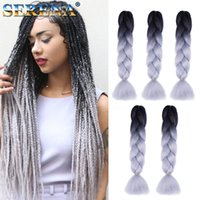 Wholesale xpression kanekalon braiding hair ombre resale online - Ombre Two Colors Synthetic Xpression Braiding Hair inches g Jumbo Braids Kanekalon Xpression Braiding Hair Crochet Braids Hair