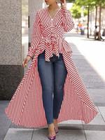 v boyun bayanlarının başında toptan satış-Bayan Uzun Kollu Tops Elbise Rahat Eğrisi Bayanlar Çizgili V Yaka Pamuk Nolvelty Elbiseler Kadın Giyim giysi tasarımcısı