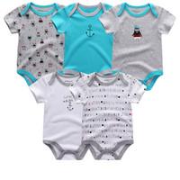 Wholesale baby army clothing resale online - 5pcs Unisex Top Quality Rompers Short Sleeve Cottom O neck m Novel Newborn Boys girls Roupas De Bebe Baby Clothes J190526