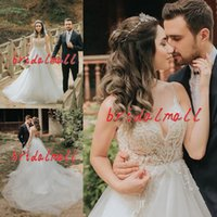 Wholesale tulle train dresses for sale - Simple V Neck Boho Beach Wedding Dresses Appliqued Lace Garden Country Bridal Gowns Cheap Spaghetti Backless Plus Size Vestido De Noiva