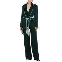 женщины пальто брюки оптовых-TWOTWINSTYLE Two Piece Sets Female Long Sleeve Lace Up Blazer Coat High Waist Long Wide Leg Trousers Women Fashion 2018 Autumn