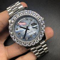 saat kılıfı ayarla toptan satış-Erkek Butik Moda Saatler Prong Seti elmas İzle Gümüş Paslanmaz Çelik Kasa İzle Otomatik Mekanik Spor Kol Saati