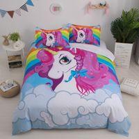 Wholesale aqua bedding sets resale online - Unicorn kids Bedding Set queen Cartoon Unicorn Duvet Cover Set Bedclothes Microfiber Fabric