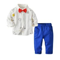 Wholesale boys long sleeve cartoon shirt for sale - Group buy Kids outfits boys cartoon letter printed lapel long sleeve shirt Bows tie blue pants sets spring new children clothing J2045