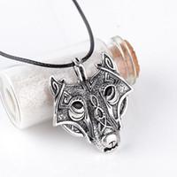 mens halskette wolf anhänger großhandel-Herren Halsketten Norse Vikings Wunderschön Anhänger Halskette Norse Wolf Head Halskette Original Animal Jewelry Wolf Halsketten
