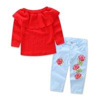 rote baby-jeans großhandel-Baby Mädchen Kleidung Sommer rote Schulter aus Tops + Jeans Hosen Outfits 2 Stück Mädchen Kleidung Set 6 s / l