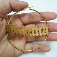 Wholesale old fashioned jewelry resale online - 20 MM Name Hoop Earrings For Women Custom Name Earrings Fashion Jewelry Personalized Big Circle Old English