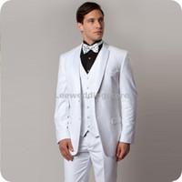 Wholesale best wedding dresses for groom online - White Men Suits For Wedding Suits Bridegroom Groom Wear Evening Dress Custom Slim Fit Formal Tuxedos Best Man Blazer Prom Jacket Pants Vest
