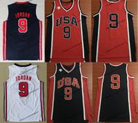 takım usa gömlek toptan satış-Erkek Vintage Erkek 1984 ABD Michael Jodan # 9 İlk ABD Bir Takım Rüya Basketbol Formaları Vintage Mavi Kırmızı Michael Jorda Gömlek S-XXL