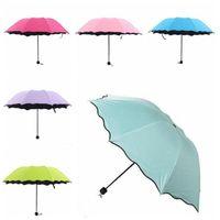 Wholesale vinyl rain for sale - Group buy Color changing umbrella Outdoor parasol Clear Sunny Rainy Umbrella Three Folding Black Coating Vinyl Sunscreen Umbrellas LXL997