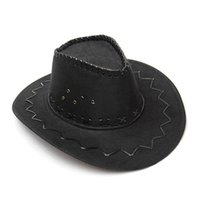 Wholesale dress hat for sale - Group buy Cowboy Hat Suede Look Wild West Fancy Dress Men Ladies Cowgirl Unisex Hat Hot New Coffee