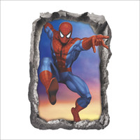ingrosso adesivi dell'eroe-3D Broken Spider Man Wall Stickers per bambini Camere Home Decor DIY Marvel Heroes Poster Murale Wallpaper