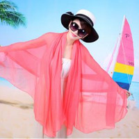 Wholesale chiffon scarves online - Outdoor Sunscreen Scarf Women Chiffon Soft Scarves Solid Beach Towel Ladies Long Wrap Shawl Summer Beach Scarves GGA1638