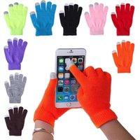 yetişkin kış eldivenleri toptan satış-Sihirli Dokunmatik Ekran Eldiven Smartphone Örme Manifatura Streç Yetişkin Bir Boyut Unisex Kış Isıtıcı Örgü Sıcak Dokunmatik Eldiven