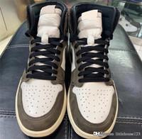 mejores zapatillas para correr al por mayor-2019 Best Air Authentic 1 High Retro Travis Scott OG TS SP 3M Cactus Jack Dark Mocha Hombres Mujeres Zapatos de baloncesto Zapatillas de deporte CD4487-100