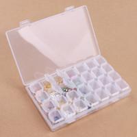 аксессуары для мониторов оптовых-28 Slots Nail Art Storage Box Plastic Display Case Holder Manicure Rhinestone Crystal  Pearls DIY Accessories Organizer New