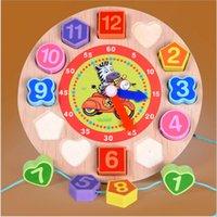 dişli saatler toptan satış-Çocuklar Ahşap Bulmaca Oyuncaklar Bilişsel Dijital Saat Dijital Ahşap İzle Jigsaw Oyuncaklar Karikatür Threading Montaj Oyuncaklar