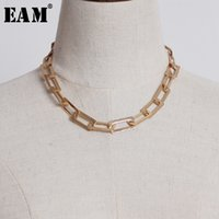 Wholesale matches necklace for sale - Group buy EAM New Spring Summer Temperament Metal Chain Split Joint Hit Color Personality Women Necklace Fashion All match JU203