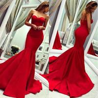 kırmızı akşam elbisesi geri kazdı toptan satış-2019 Kırmızı Gelinlik Sevgiliye Mermaid Özel Durum Elbise Sweep Tren Backless Dantelli Saten Ünlü Abiye giyim Artı Boyutu