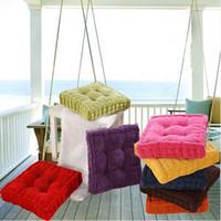 Square Shape Plaid Thick Winter Warm Chair Pad Cushion Soft Washable Cotton Home Floor Decor
