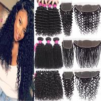 9A Brazilian Deep Wave Bundles With Closure Hair Bundles With 4x4 Closure Or 13X4 Lace Frontal Closure Unprocessed Human Hair Weaves Bundles