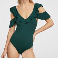 traje de baño verde de un hombro al por mayor-Nuevo color sólido de una pieza volante borde verde hembra hembra moda europea y americana sexy traje de baño bikini