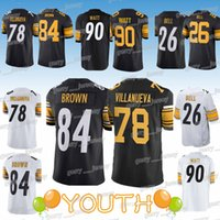 Wholesale bell child for sale - Group buy Kids Antonio Brown Alejandro Villanueva child T J Watt Bell Pittsburgh jerserys Steeler jersey YOUTH Design sweater